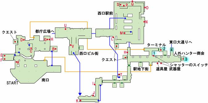 新宿駅〜駅地下街のマップ