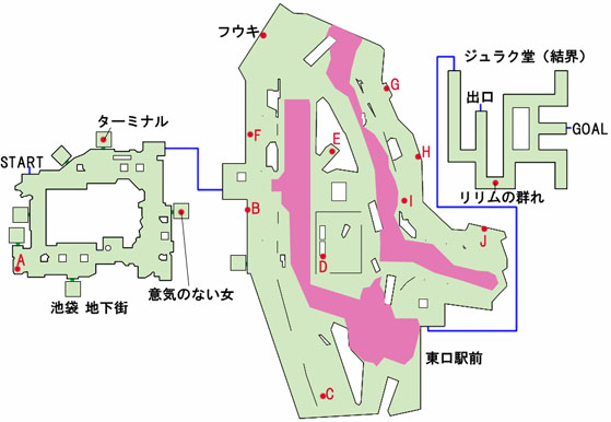 池袋地下街〜ジュラク堂のマップ