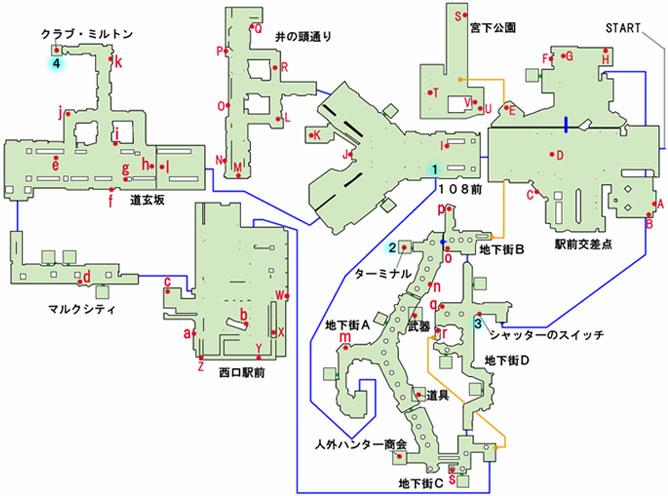 渋谷地下街のマップ