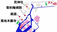 東京 銀座エリアのマップ