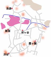 爆炎の東京エリアのマップ
