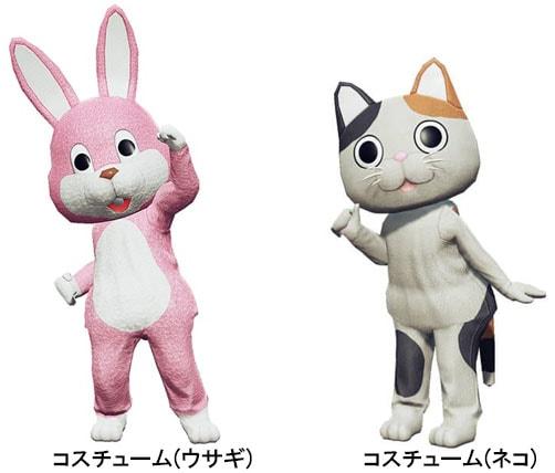 コスチュームのネコとウサギの画像