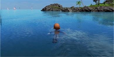 泳いで移動する画像