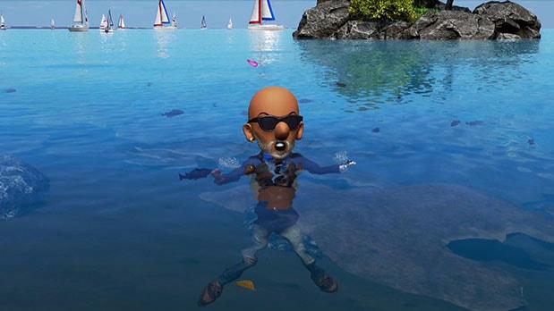 newみんなのゴルフの海辺での泳ぎ画像