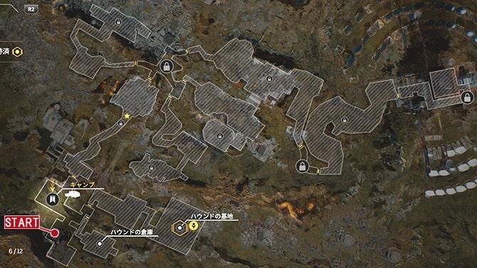 サイドクエスト『最低の日』の発生場所のマップ