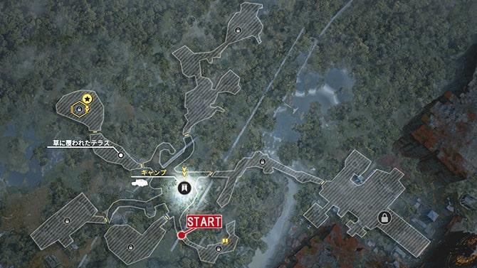 コレクタークエスト『歴史家:記憶』の発生場所のマップ