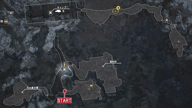コレクタークエスト『歴史家:ビジョン』の発生場所のマップ