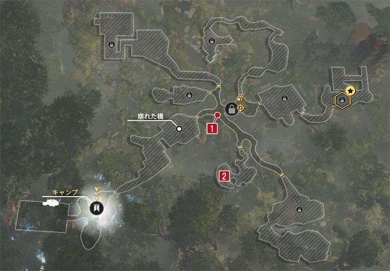 ハンターのスパインレッチのクエスト発生場所マップ