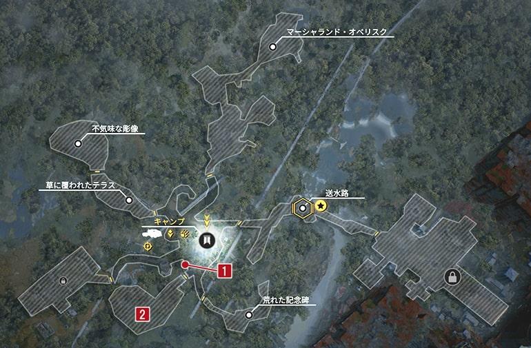 ハンターのウェンディゴのクエスト発生場所マップ
