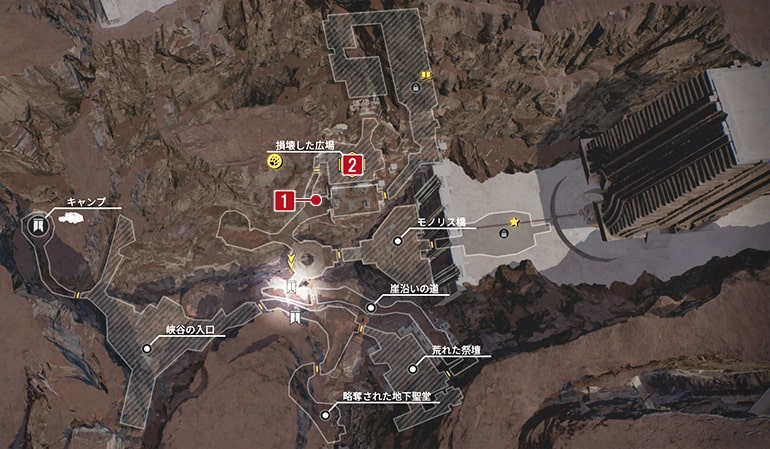 ハンターのタイフォンのクエスト発生場所マップ