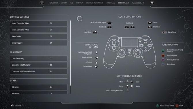 ファーストパーティ製コントローラー設定画面