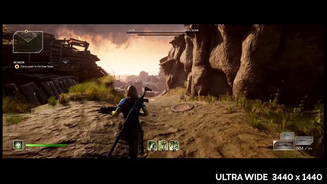 ウルトラワイドスクリーンのアウトライダーズのプレイ画面