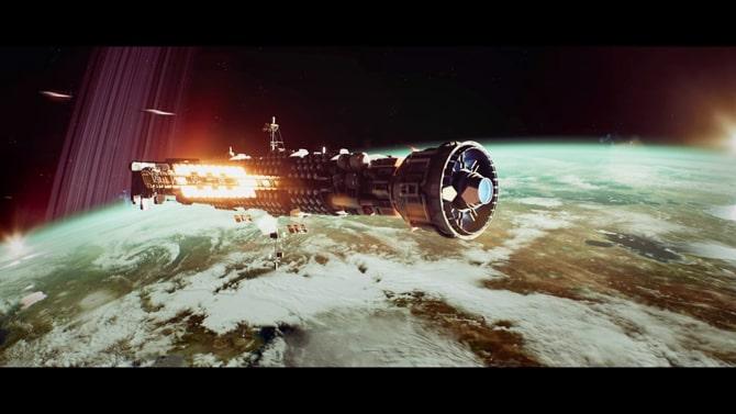 移民船フローレスで惑星エノクへ向かう様子