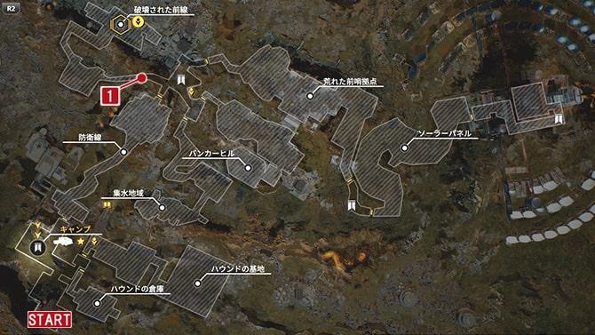 サイドクエスト『崩落』の発生場所のマップ