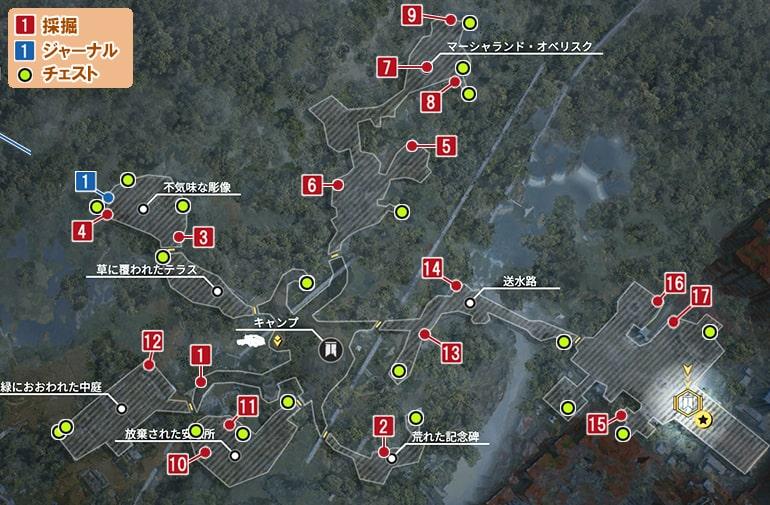 巨大な門の収集物マップ