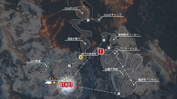 サイドクエスト『科学的手法』の発生場所のマップ