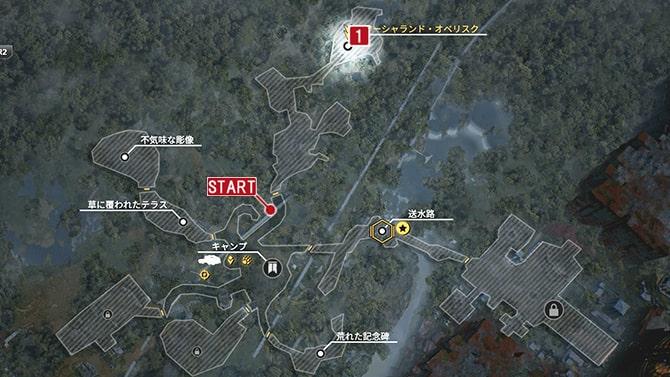 サイドクエスト『未知の存在』の発生場所のマップ