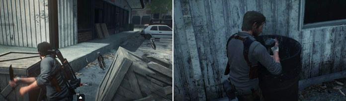 木箱の破壊、ドラム缶を調べてる画像