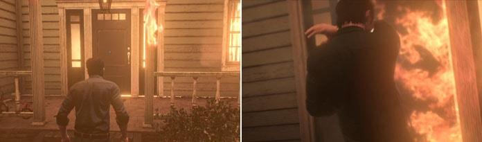 玄関のドアを調べる画像