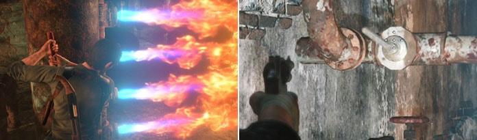 炎の噴射を止めるシーン