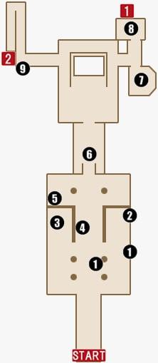 チャプター14のセオドアの領域(1階)マップ