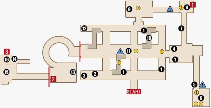 チャプター14のセオドアの領域(2階)マップ