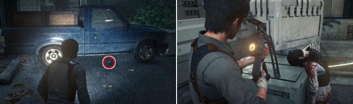 車と倒れている人を調べてる画像