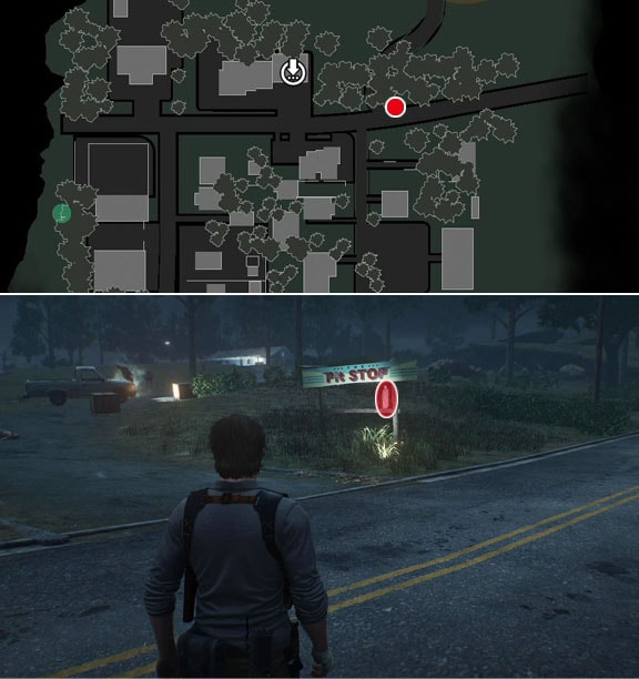Pit STOPの看板の所に置いてあるに置いてあるロッカーの鍵の入手場所の画像