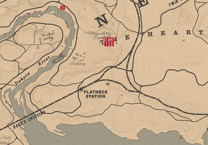 レッドデッドリデンプション2の人間をとる漁師のミッションの攻略マップ