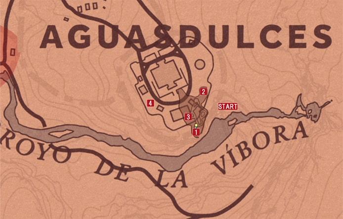 レッドデッドリデンプション2の慈悲深き暴君のミッションの攻略マップ