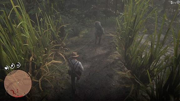 サトウキビ畑を逃げるシーン