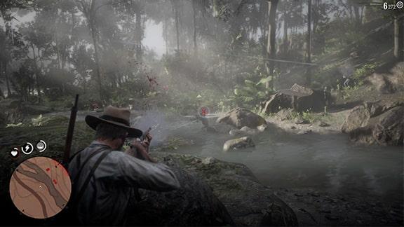 川辺で見張りとの銃撃戦シーン
