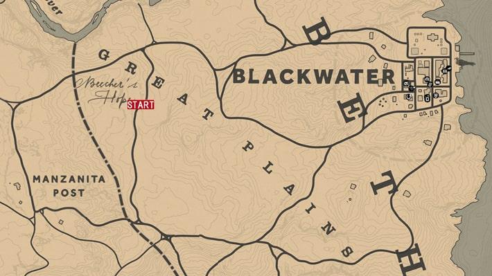レッドデッドリデンプション2の新たなる聖地のミッションの攻略マップ