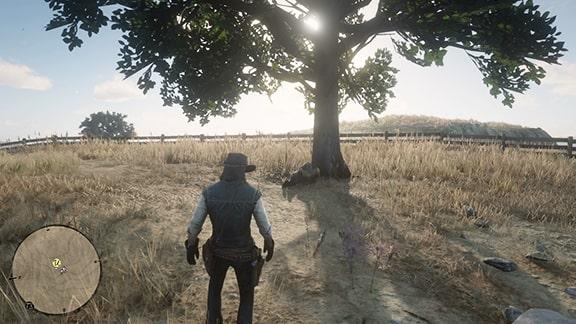 ミッションを開始できるビーチャーズホープの牧場で寝ているおじさん