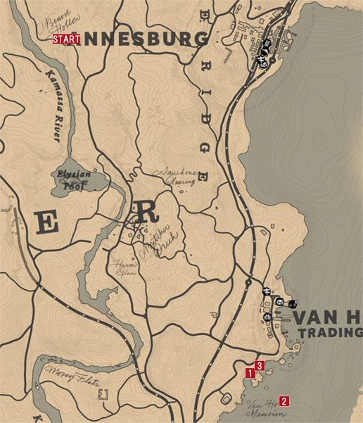 レッドデッドリデンプション2の解き放たれた怒りのミッションの攻略マップ