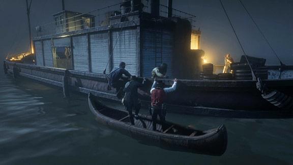 軍の船に侵入するシーン