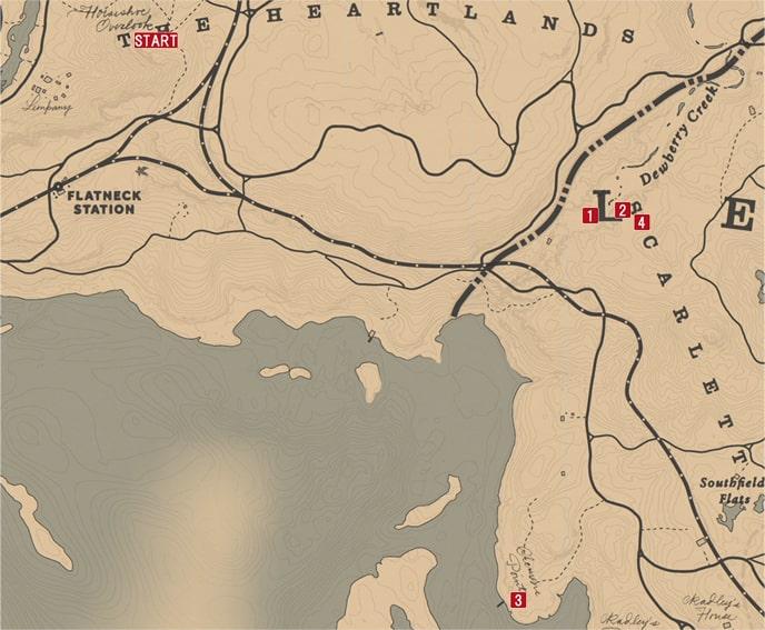 レッドデッドリデンプション2の意外な優しさのミッションの攻略マップ