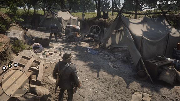 チャールズと共に無人のキャンプ地を調べてるシーン