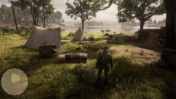 発見するキャンプ地のシーン