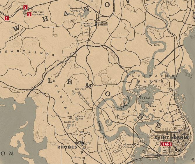 レッドデッドリデンプション2のアメリカの父親達のミッションの攻略マップ