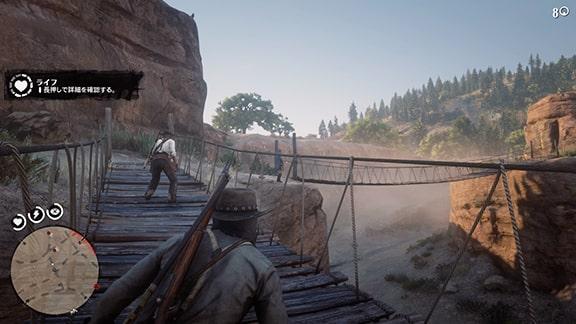 渓谷の吊り橋を渡るシーン