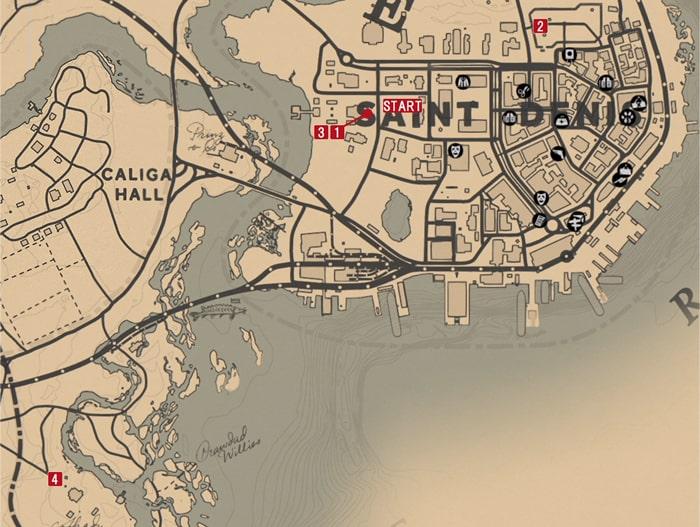 レッドデッドリデンプション2の誇り高きアンジェロ・ブロンテのミッションの攻略マップ