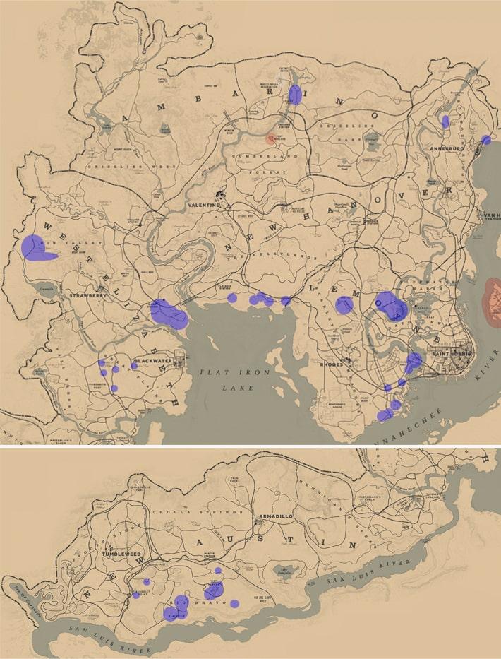 フクロネズミの居場所マップ