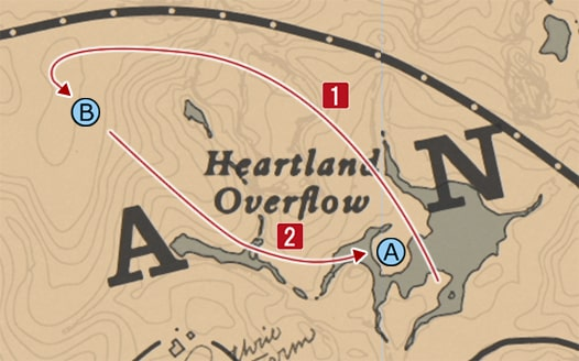 効率的な馬の追い込み方法を記したマップ
