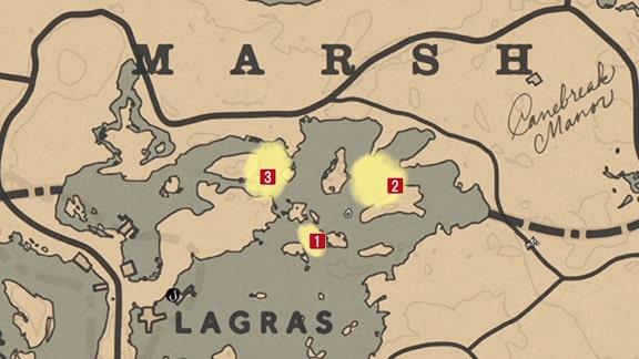 三ヶ所にいるワニのスポットマップ