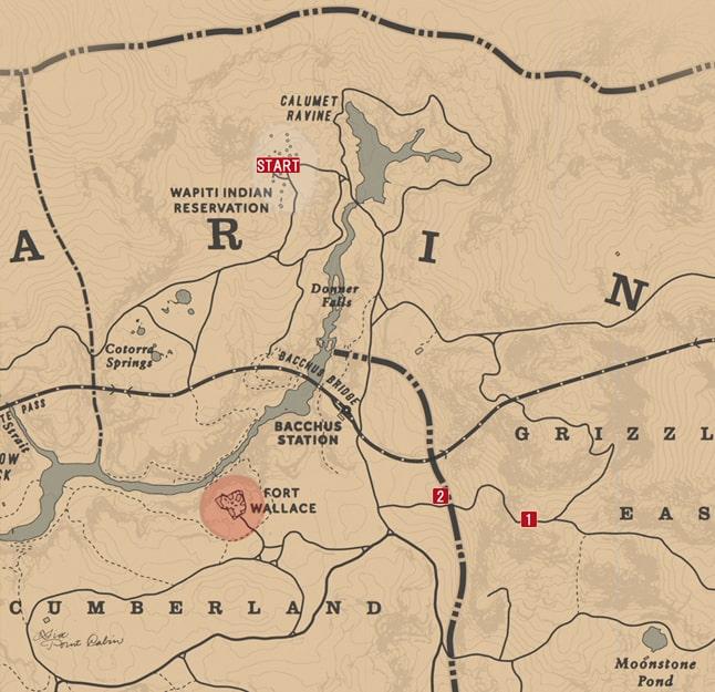 レッドデッドリデンプション2の駆け出しの考古学のミッションの攻略マップ