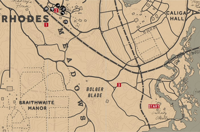 レッドデッドリデンプション2の銀行強盗-チャールズ『大なり小なり』のミッションの攻略マップ