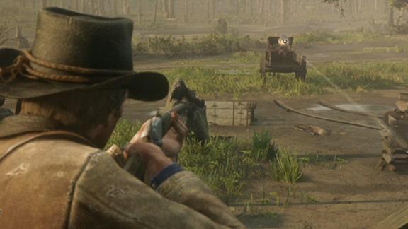 アーサーがガトリングガンを狙っているシーン