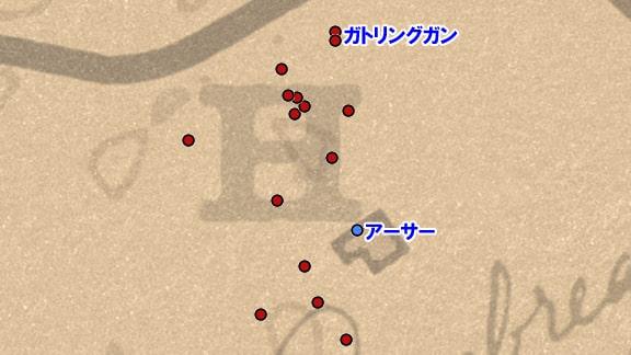 賞金首が襲ってくる位置確認のマップ