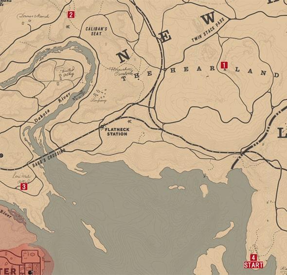 レッドデッドリデンプション2の平和をつくる者は幸いのミッションの攻略マップ